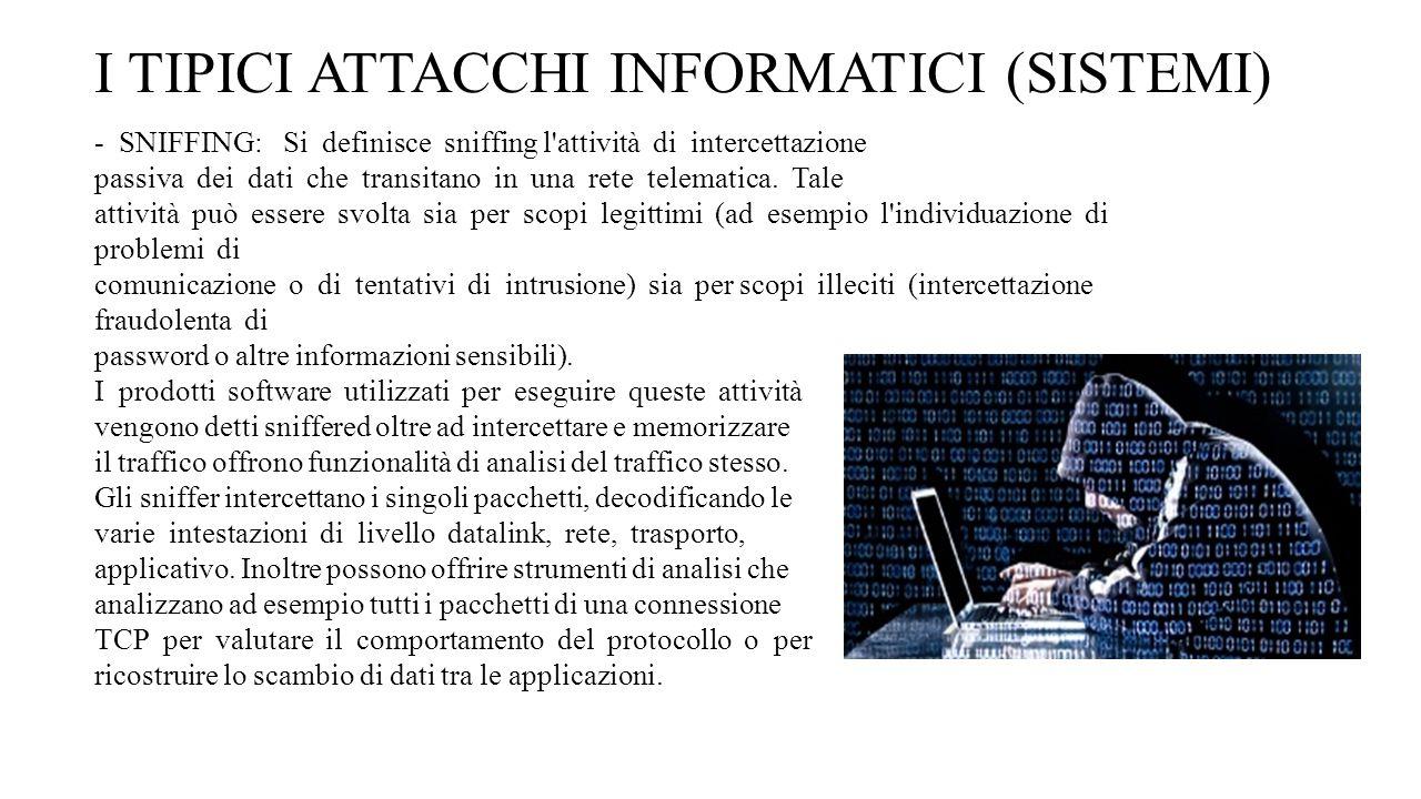 I TIPICI ATTACCHI INFORMATICI (SISTEMI)