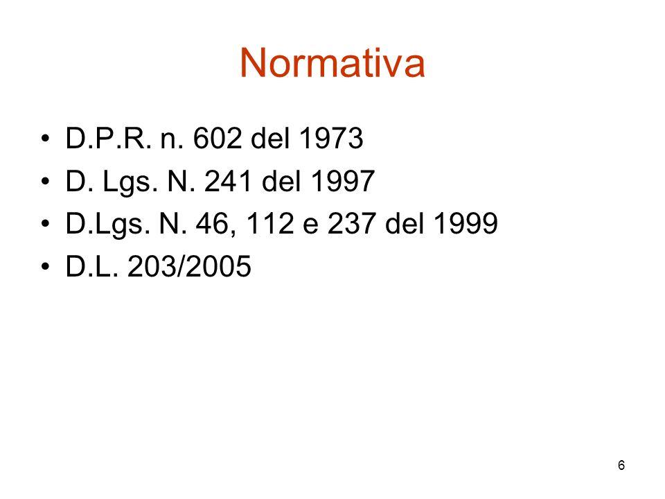 Normativa D.P.R. n. 602 del 1973 D. Lgs. N. 241 del 1997