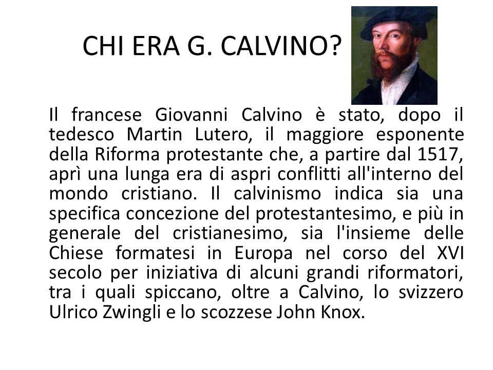 CHI ERA G. CALVINO