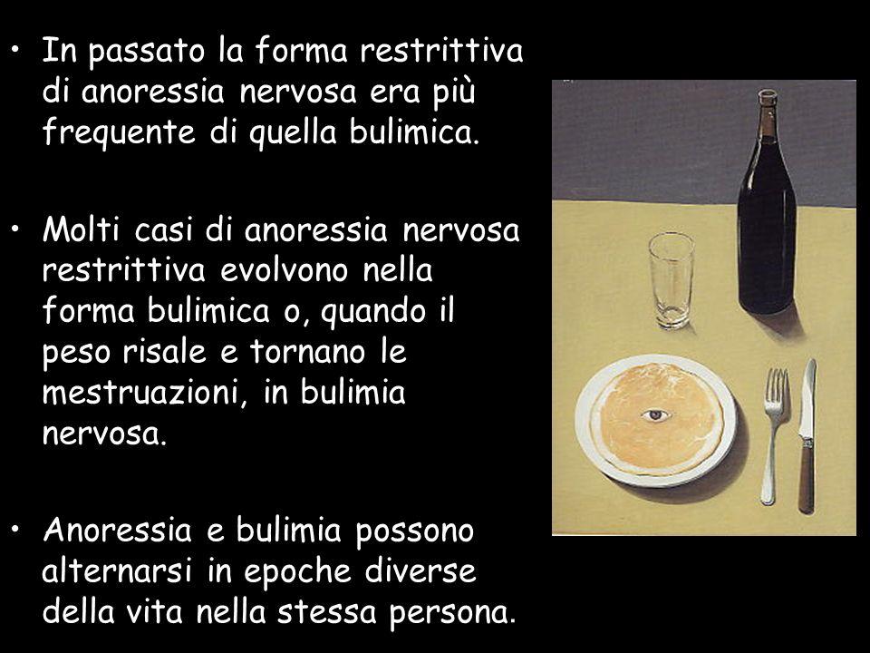 In passato la forma restrittiva di anoressia nervosa era più frequente di quella bulimica.