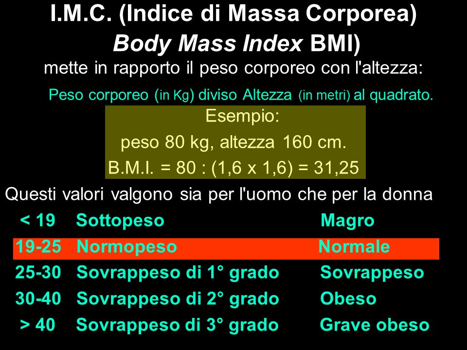 I.M.C. (Indice di Massa Corporea) Body Mass Index BMI)