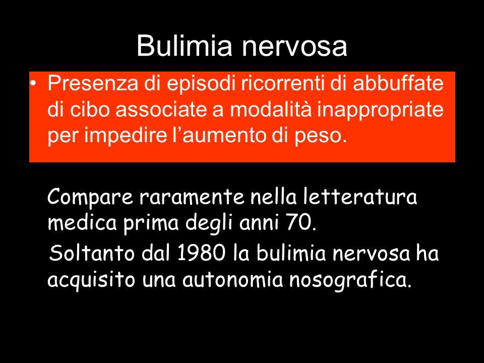 Bulimia nervosa Presenza di episodi ricorrenti di abbuffate di cibo associate a modalità inappropriate per impedire l'aumento di peso.