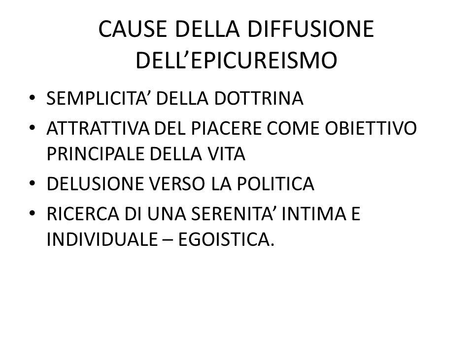 CAUSE DELLA DIFFUSIONE DELL'EPICUREISMO