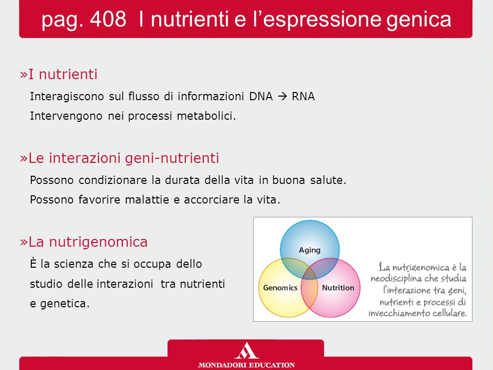 pag. 408 I nutrienti e l'espressione genica