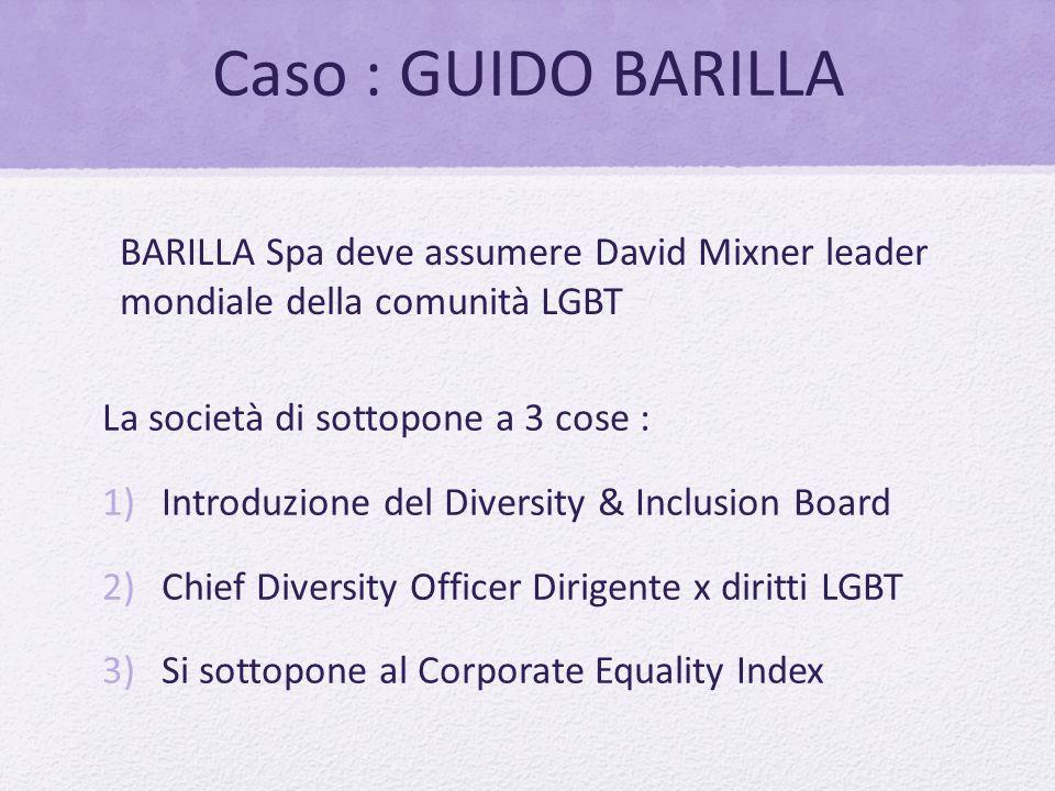 Caso : GUIDO BARILLA BARILLA Spa deve assumere David Mixner leader mondiale della comunità LGBT. La società di sottopone a 3 cose :