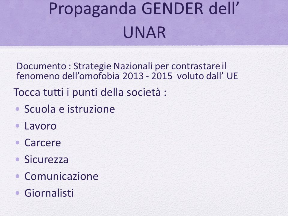 Propaganda GENDER dell' UNAR