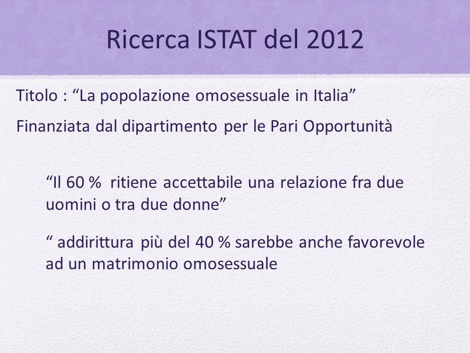 Ricerca ISTAT del 2012 Titolo : La popolazione omosessuale in Italia