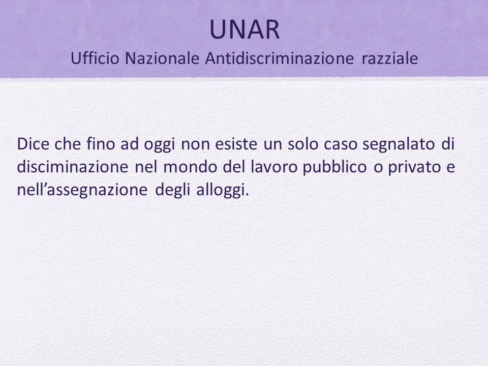 UNAR Ufficio Nazionale Antidiscriminazione razziale