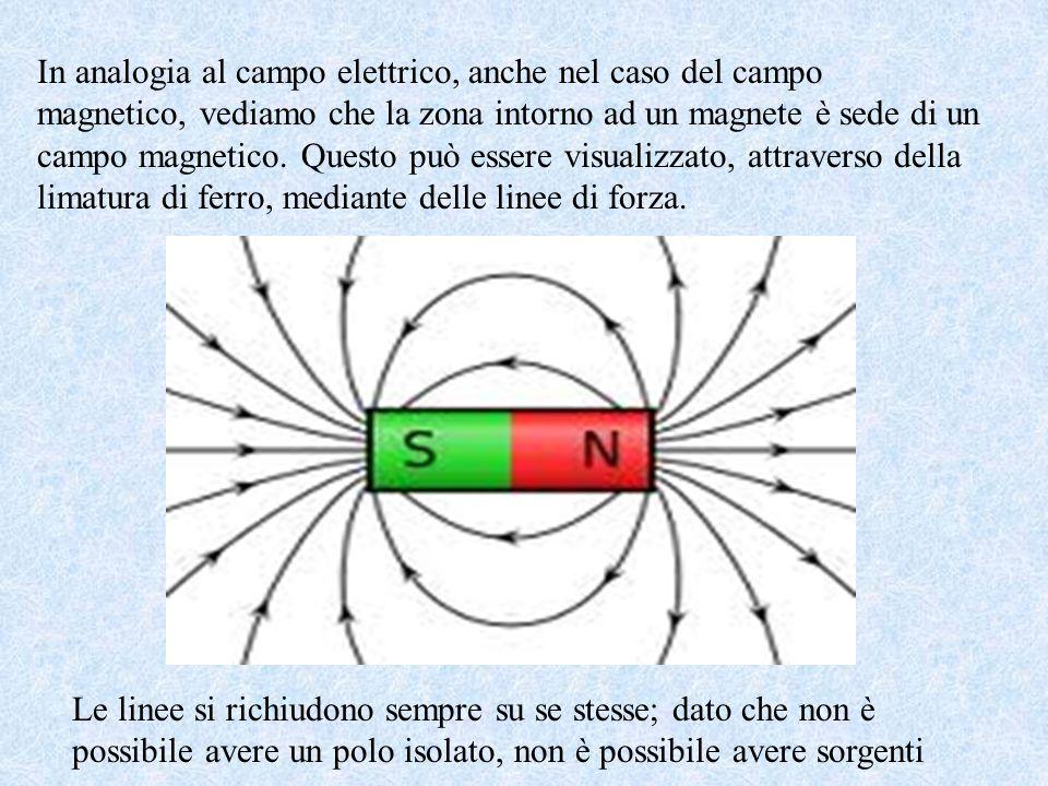 In analogia al campo elettrico, anche nel caso del campo magnetico, vediamo che la zona intorno ad un magnete è sede di un campo magnetico. Questo può essere visualizzato, attraverso della limatura di ferro, mediante delle linee di forza.