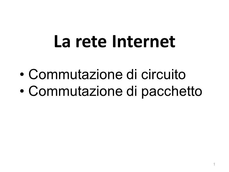 La rete Internet Commutazione di circuito Commutazione di pacchetto