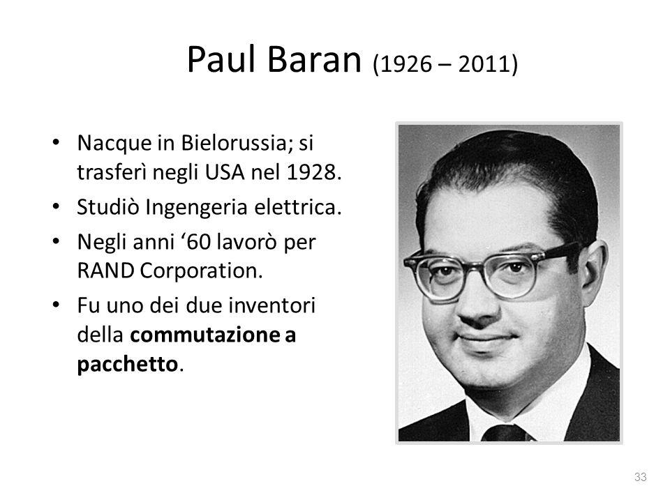 Paul Baran (1926 – 2011) Nacque in Bielorussia; si trasferì negli USA nel 1928. Studiò Ingengeria elettrica.