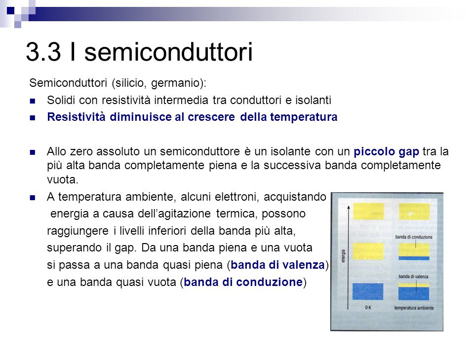 3.3 I semiconduttori Semiconduttori (silicio, germanio):