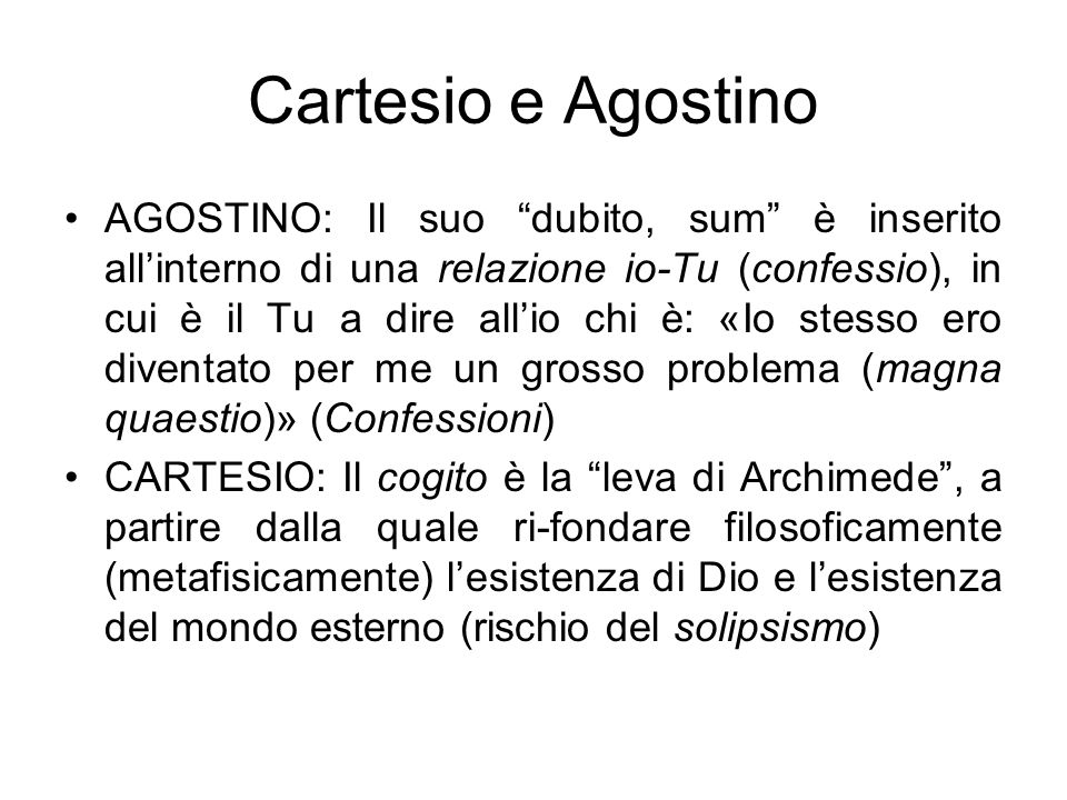 Cartesio e Agostino