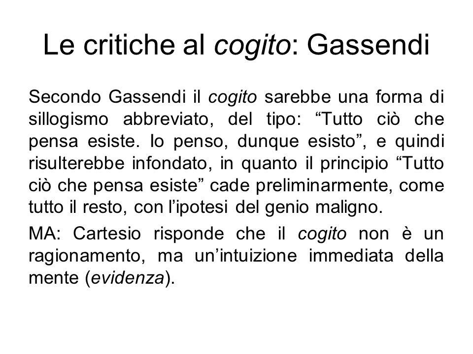 Le critiche al cogito: Gassendi