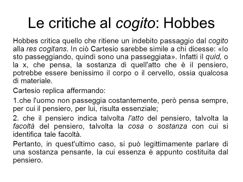 Le critiche al cogito: Hobbes
