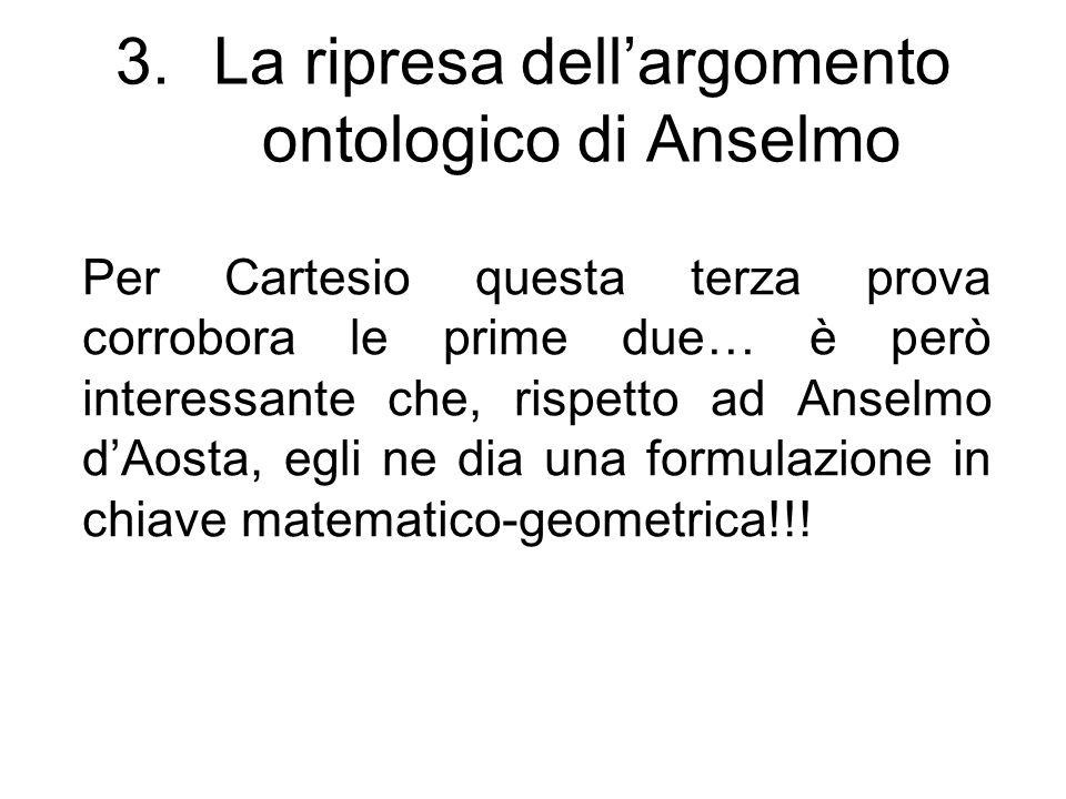 La ripresa dell'argomento ontologico di Anselmo