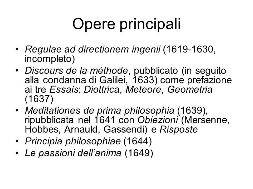 Opere principali Regulae ad directionem ingenii (1619-1630, incompleto)