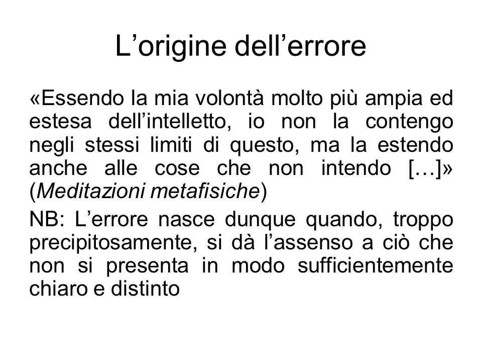 L'origine dell'errore