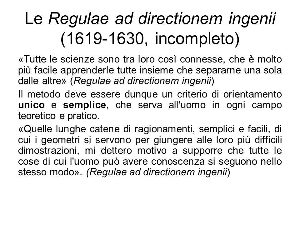Le Regulae ad directionem ingenii (1619-1630, incompleto)