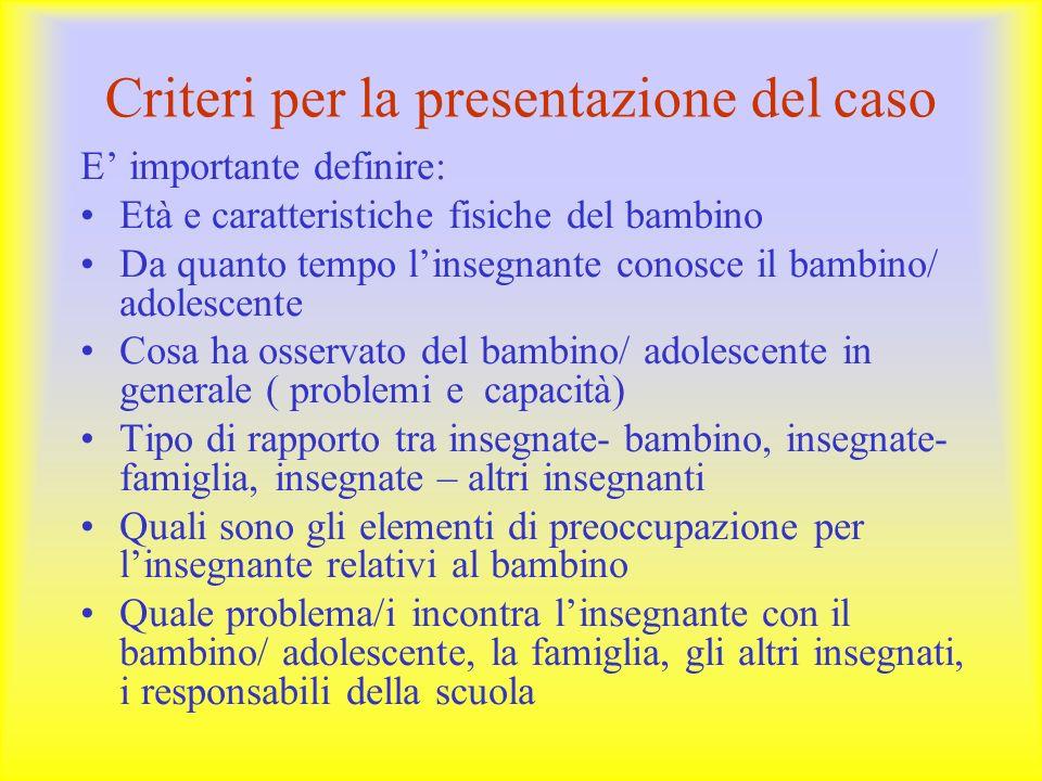 Criteri per la presentazione del caso