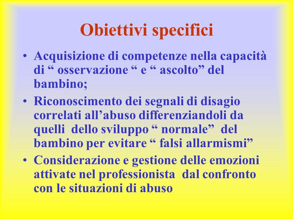 Obiettivi specifici Acquisizione di competenze nella capacità di osservazione e ascolto del bambino;