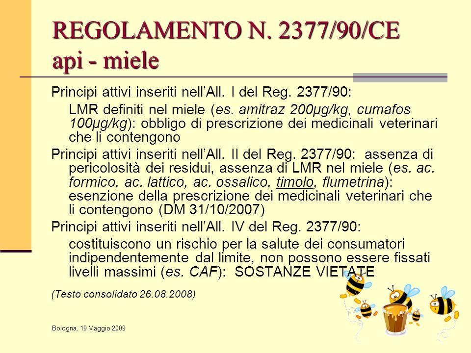 REGOLAMENTO N. 2377/90/CE api - miele