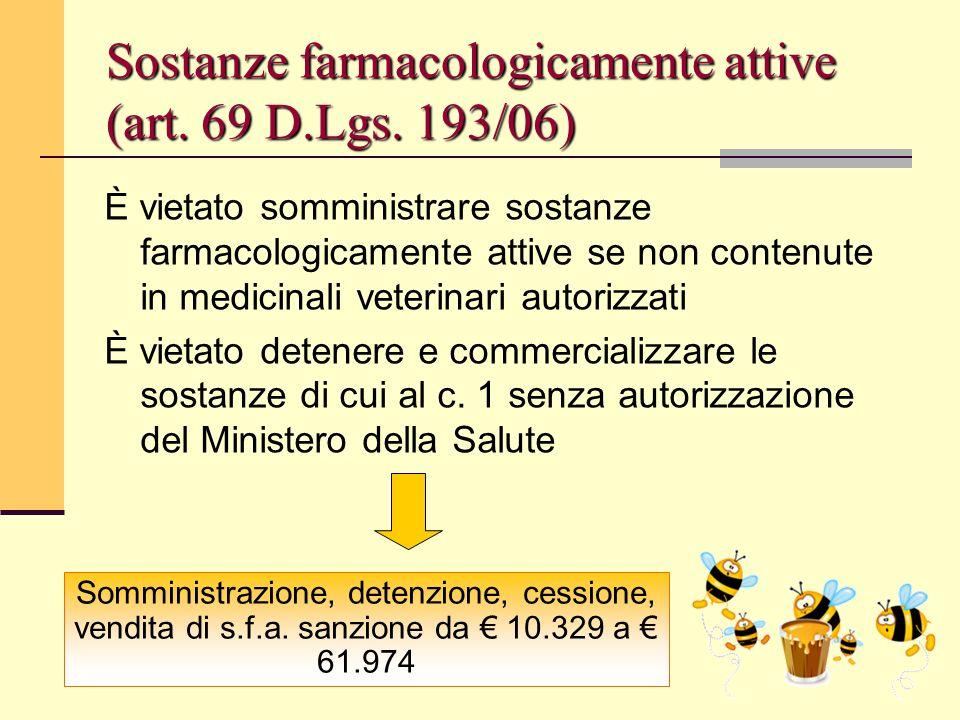 Sostanze farmacologicamente attive (art. 69 D.Lgs. 193/06)