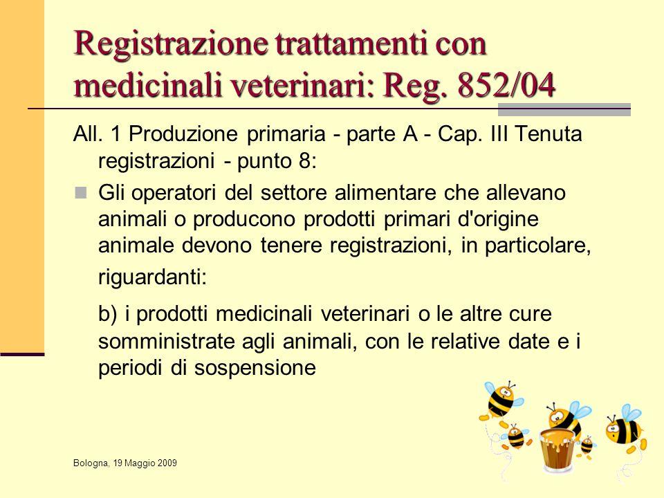 Registrazione trattamenti con medicinali veterinari: Reg. 852/04