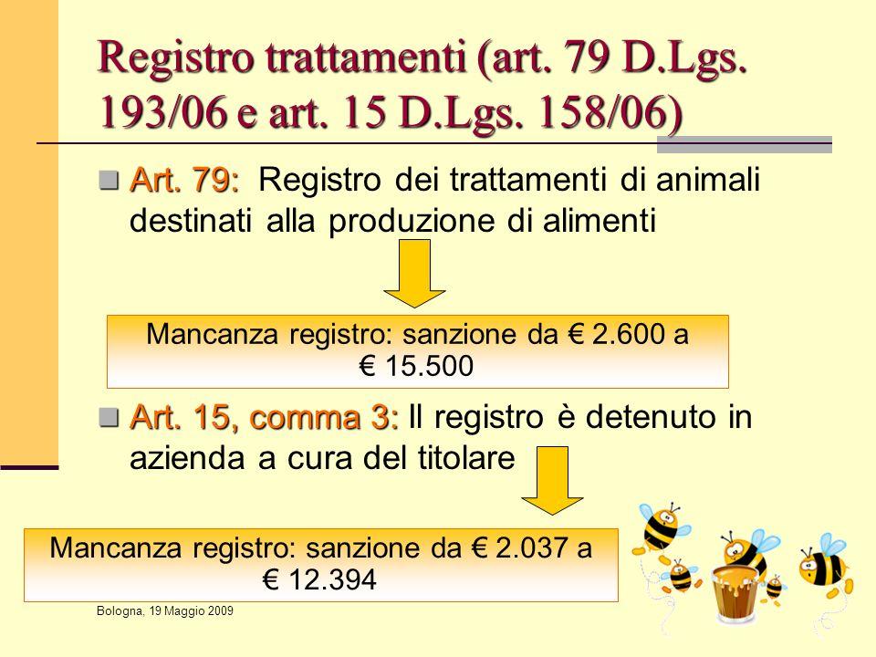 Registro trattamenti (art. 79 D.Lgs. 193/06 e art. 15 D.Lgs. 158/06)