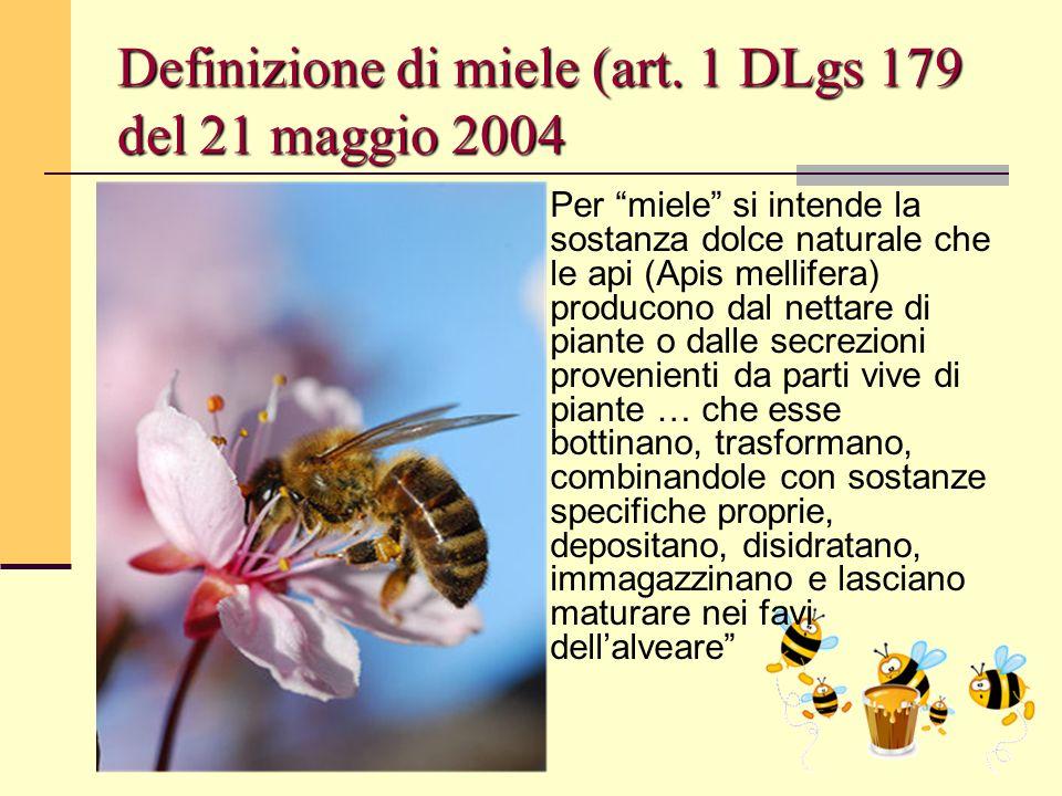 Definizione di miele (art. 1 DLgs 179 del 21 maggio 2004