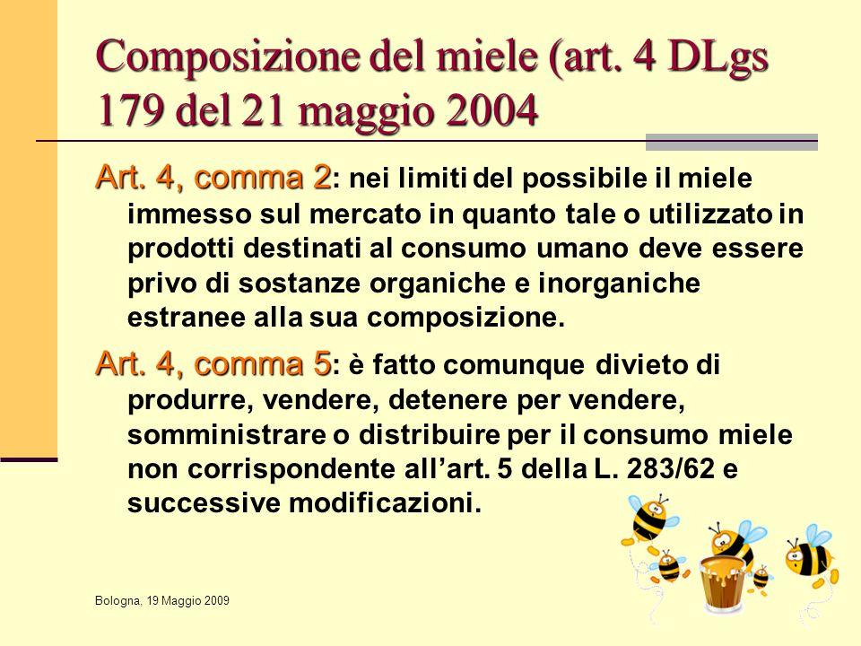 Composizione del miele (art. 4 DLgs 179 del 21 maggio 2004