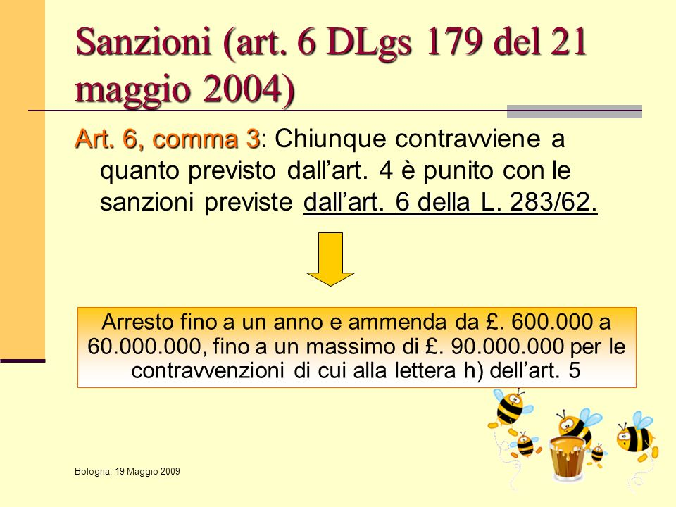 Sanzioni (art. 6 DLgs 179 del 21 maggio 2004)