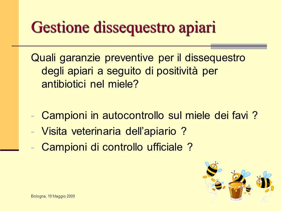 Gestione dissequestro apiari