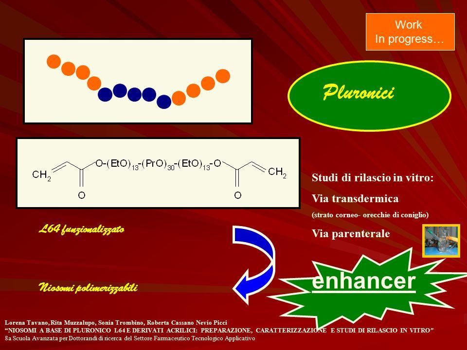 Pluronici enhancer L64 funzionalizzato Niosomi polimerizzabili Work