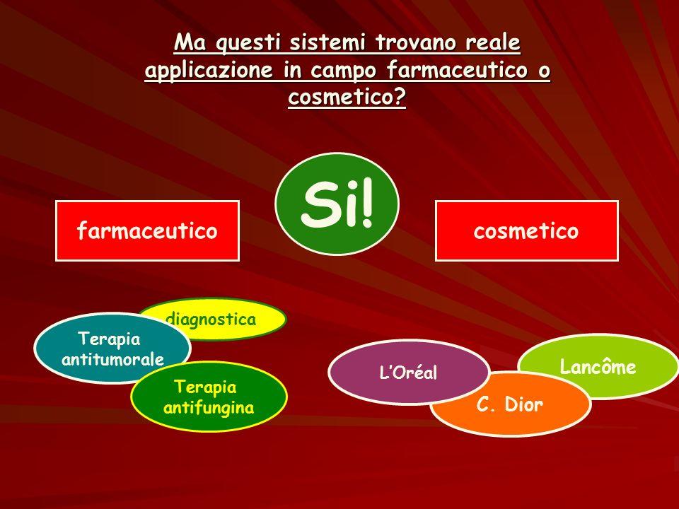 Ma questi sistemi trovano reale applicazione in campo farmaceutico o cosmetico