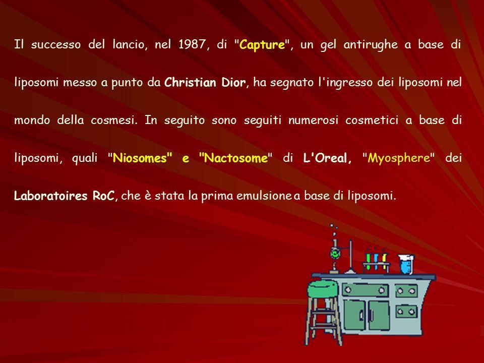 Il successo del lancio, nel 1987, di Capture , un gel antirughe a base di liposomi messo a punto da Christian Dior, ha segnato l ingresso dei liposomi nel mondo della cosmesi.
