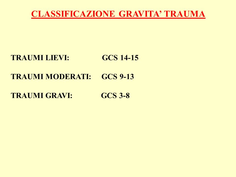 CLASSIFICAZIONE GRAVITA' TRAUMA