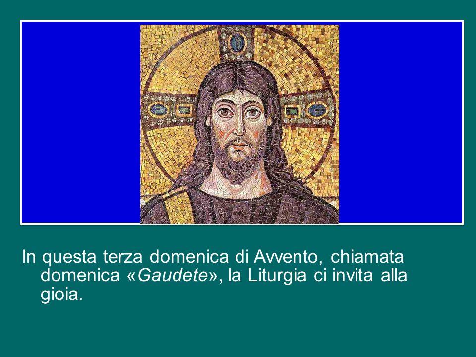 In questa terza domenica di Avvento, chiamata domenica «Gaudete», la Liturgia ci invita alla gioia.