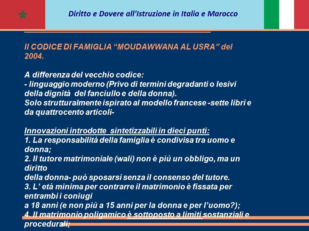 PRINCIPALI ISTITUTI OGGETTO DELLA RIFORMA Il CODICE DI FAMIGLIA MOUDAWWANA AL USRA del 2004.