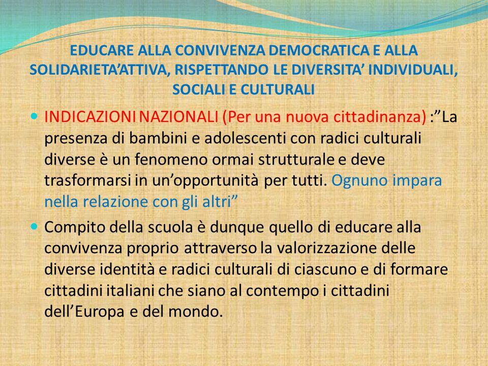 EDUCARE ALLA CONVIVENZA DEMOCRATICA E ALLA SOLIDARIETA'ATTIVA, RISPETTANDO LE DIVERSITA' INDIVIDUALI, SOCIALI E CULTURALI