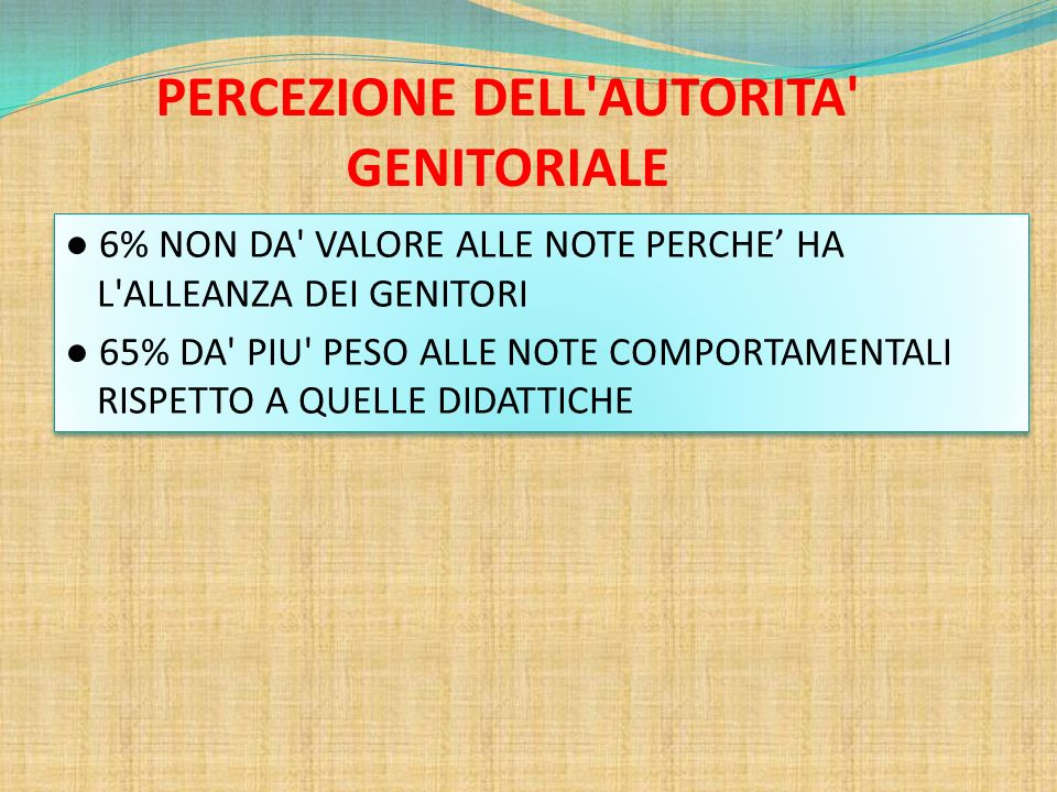 PERCEZIONE DELL AUTORITA GENITORIALE