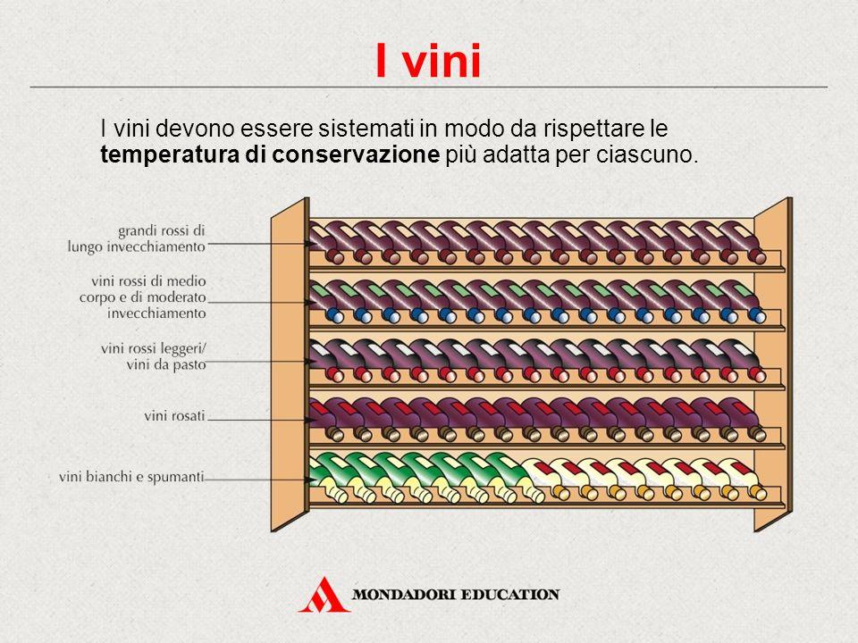 I vini I vini devono essere sistemati in modo da rispettare le temperatura di conservazione più adatta per ciascuno.