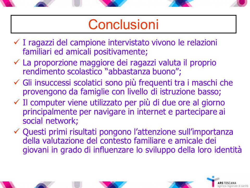 Conclusioni I ragazzi del campione intervistato vivono le relazioni familiari ed amicali positivamente;