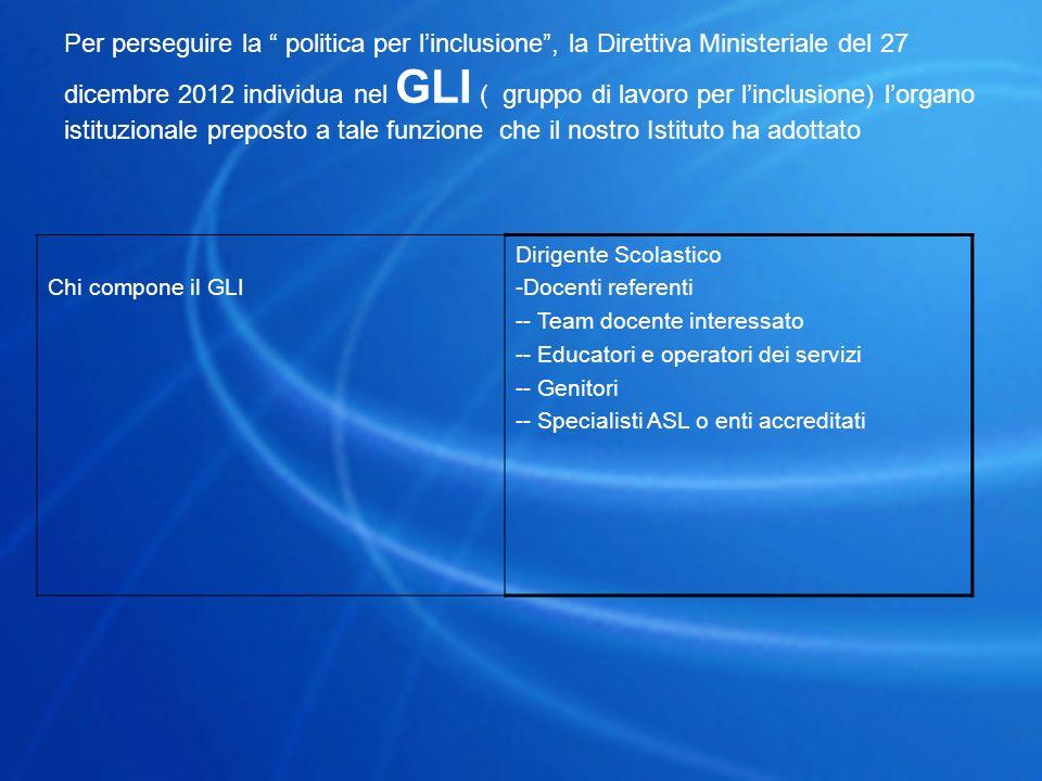 Per perseguire la politica per l'inclusione , la Direttiva Ministeriale del 27 dicembre 2012 individua nel GLI ( gruppo di lavoro per l'inclusione) l'organo istituzionale preposto a tale funzione che il nostro Istituto ha adottato
