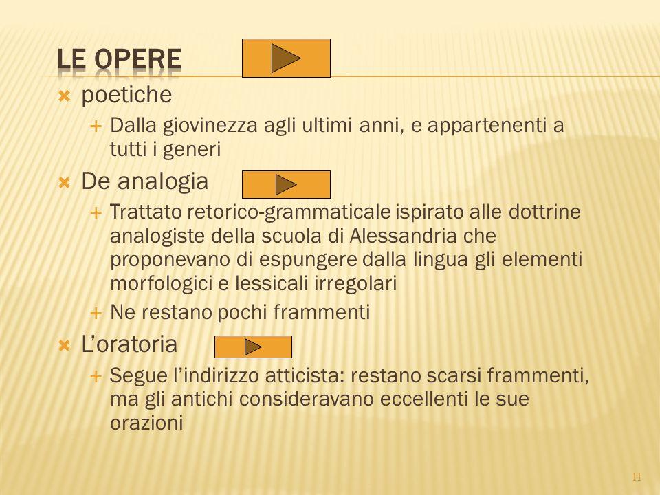 Le opere poetiche De analogia L'oratoria
