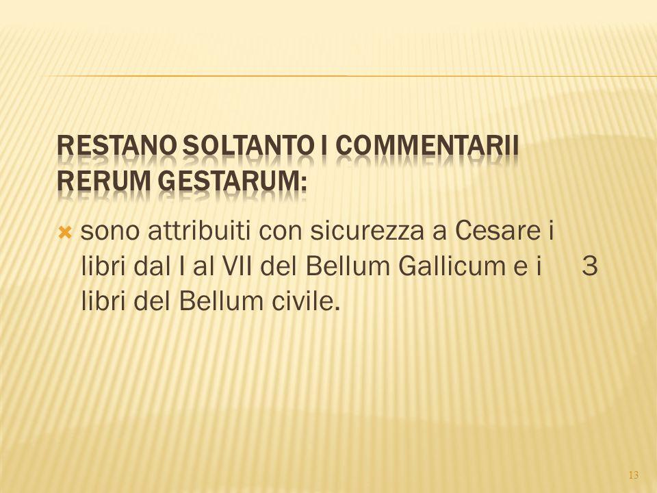 restano soltanto i Commentarii rerum gestarum: