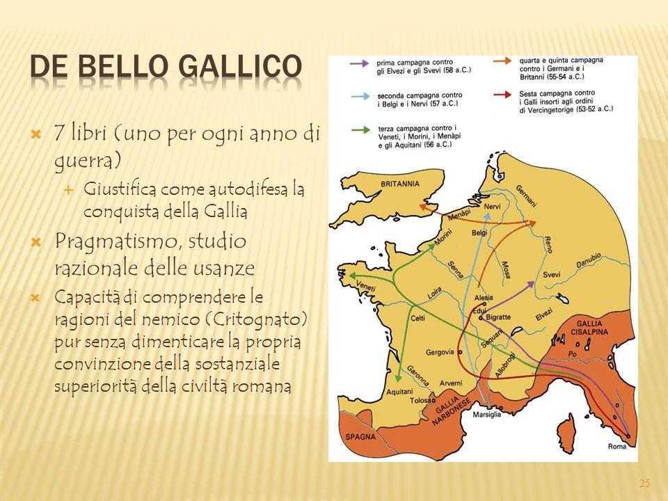 De bello Gallico 7 libri (uno per ogni anno di guerra)