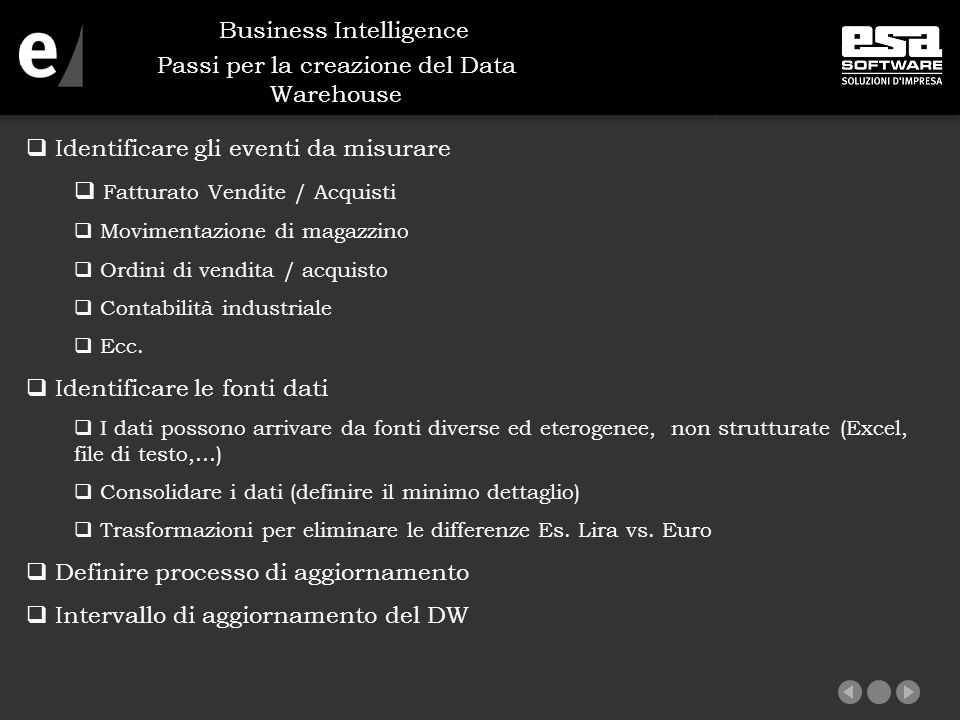 Passi per la creazione del Data Warehouse