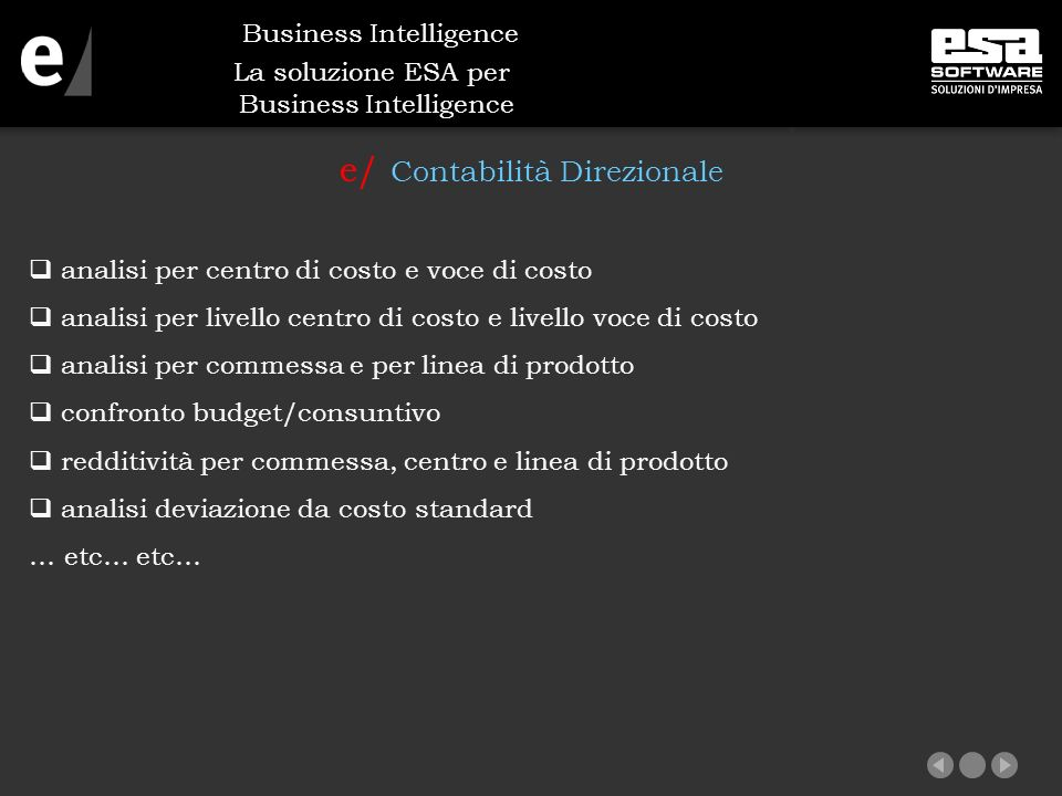 La soluzione ESA per Business Intelligence