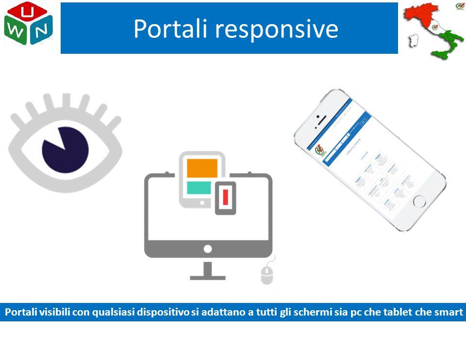 Portali responsive Portali visibili con qualsiasi dispositivo si adattano a tutti gli schermi sia pc che tablet che smart.